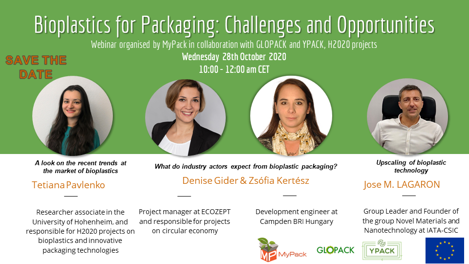 """Free webinar """"Bioplastics for Packaging: Challenges and Opportunities"""" 