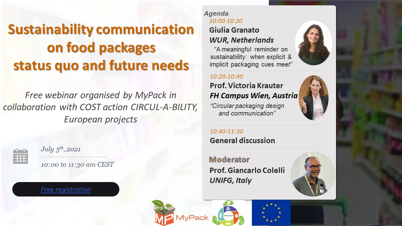 """Free joint webinar """"Sustainability communication on food packages status quo and future needs"""""""